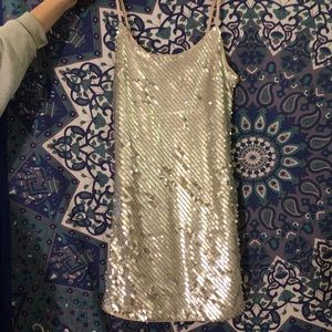 Silver Sequin Tank Dress